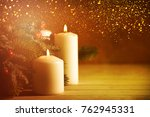christmas candles and ornaments ... | Shutterstock . vector #762945331