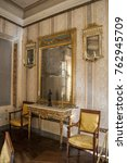Small photo of Corsica, 01/09/2017: detail of the Galerie, a great room for the guests, in the Maison Bonaparte in Ajaccio, home of the Bonaparte family and the birthplace of Napoleon, historical monument since 1967
