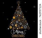 christmas hand drawn lettering. ... | Shutterstock .eps vector #762957124