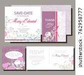 set of wedding cards with roses.... | Shutterstock .eps vector #762958777