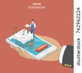 restaurant online booking flat... | Shutterstock .eps vector #762962224