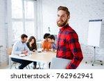 portrait of hipster student in... | Shutterstock . vector #762962941