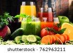 glasses with fresh organic... | Shutterstock . vector #762963211
