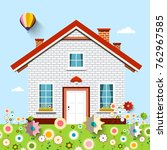 house on garden full of flowers | Shutterstock .eps vector #762967585