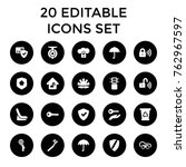 set of 20 protect filled icons... | Shutterstock .eps vector #762967597