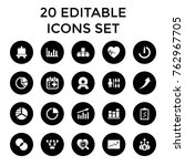 set of 20 chart filled icons... | Shutterstock .eps vector #762967705