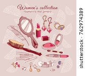 women's collection make up... | Shutterstock .eps vector #762974389
