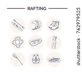 hand drawn doodle rafting set.... | Shutterstock .eps vector #762979525