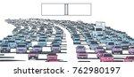 illustration of rush hour... | Shutterstock .eps vector #762980197