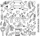 doodles romantic elements with...