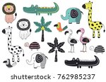 set of isolated jungle animals... | Shutterstock .eps vector #762985237