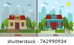house before and after repair... | Shutterstock .eps vector #762990934