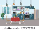 kitchen interior  with table ... | Shutterstock .eps vector #762991981