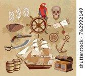 treasure chest  parrot.... | Shutterstock .eps vector #762992149