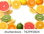 healthy food. mix sliced lemon  ... | Shutterstock . vector #762992824