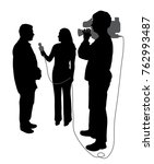 interview with cameraman  | Shutterstock .eps vector #762993487