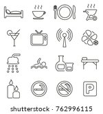 motel or hotel icons thin line... | Shutterstock .eps vector #762996115