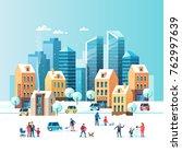 snowy street. urban winter... | Shutterstock .eps vector #762997639