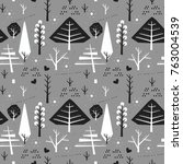 seamless pattern with christmas ... | Shutterstock .eps vector #763004539