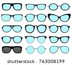 a set of glasses isolated.... | Shutterstock .eps vector #763008199