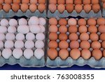 fresh brown and white chicken... | Shutterstock . vector #763008355