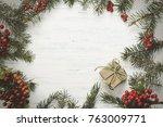 christmas gift  knitted blanket ... | Shutterstock . vector #763009771