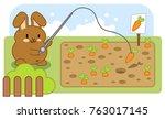 little brown bunny fishing...   Shutterstock .eps vector #763017145