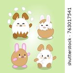 four bunnies disguised as eggs  ...   Shutterstock .eps vector #763017541