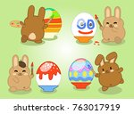 four rabbits painting easter...   Shutterstock .eps vector #763017919