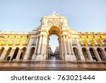 view on the triumphal arch on... | Shutterstock . vector #763021444