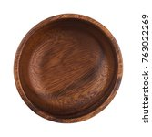 empty wooden bowl isolated on...   Shutterstock . vector #763022269