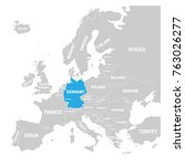 germany marked by blue in grey...   Shutterstock .eps vector #763026277
