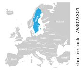 sweden marked by blue in grey... | Shutterstock .eps vector #763026301