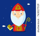 cool simple saint nicolas... | Shutterstock .eps vector #763027519