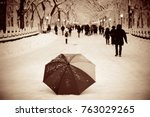 umbrella and tourists in... | Shutterstock . vector #763029265
