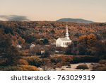 stowe at sunset in autumn with...