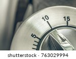 10 minutes   macro of an analog ... | Shutterstock . vector #763029994