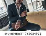stylish man. close up of young...   Shutterstock . vector #763034911