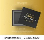 gift box with merry christmas... | Shutterstock .eps vector #763035829