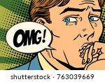 omg man is crying  bad feelings.... | Shutterstock .eps vector #763039669