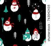 hand drawn christmas seamless... | Shutterstock .eps vector #763042435