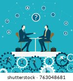 two business people discussing  ... | Shutterstock .eps vector #763048681