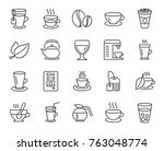 coffee and tea line icons. set... | Shutterstock .eps vector #763048774