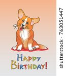 happy birthday lettering with... | Shutterstock .eps vector #763051447
