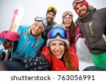 group of young people taking... | Shutterstock . vector #763056991