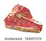 fresh raw t bone steak isolated ... | Shutterstock . vector #763057174