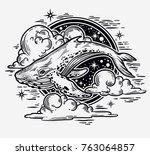 beautiful hand drawn artwork of ... | Shutterstock .eps vector #763064857