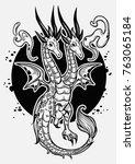 fantasy dragon isolated on... | Shutterstock .eps vector #763065184