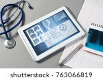 white tablet pc and doctor... | Shutterstock . vector #763066819
