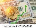 bitcoin and dollar.  btc market ... | Shutterstock . vector #763067341